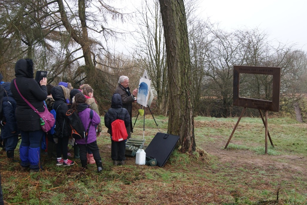 Ashley Jackson takes masterclass in Newton Wood with children from Brotton