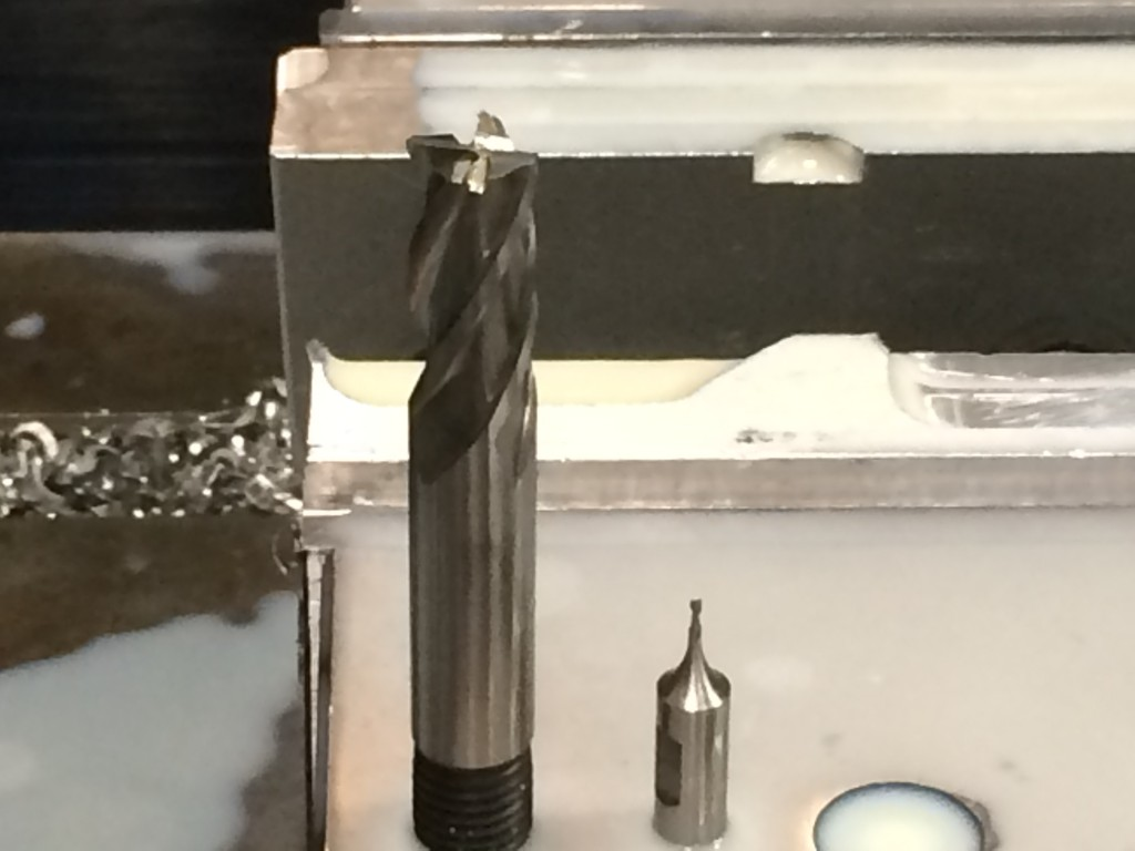 The drill on the left is a normal size compared to the one which was used on the left